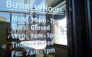 Hours of Operation Sign